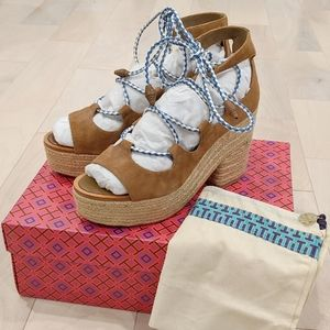 Tory Burch Positano Lace Up Platform Espadrille